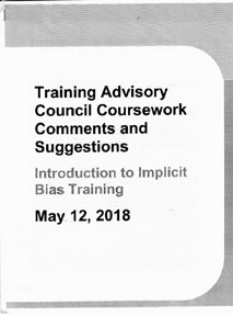 cover of Training Advisory Council Coursework Comments and  Suggestions