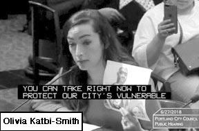 Olivia Katbi-Smith testifying at City  Council
