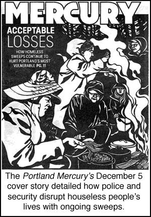 Mercury cover story on houseless  sweeps