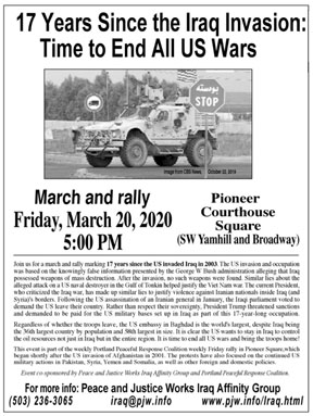 [Iraq 17 Years Later flyer]