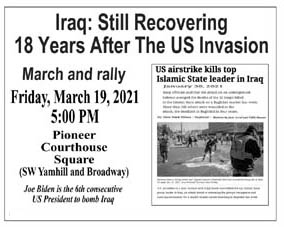 [Iraq 18 Years Later flyer]